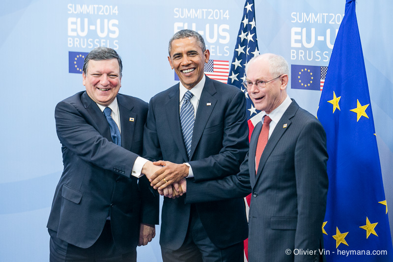 USA president Barack Obama Smith President Barroso and President Van Rompuy at EU-US Summit in Brussels - 26/03/2014